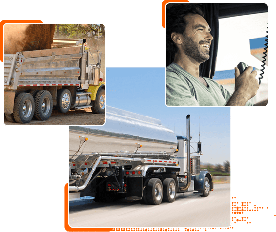 Dump truck, tanker truck, owner operator on CB collage